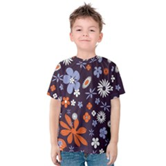 Bright Colorful Busy Large Retro Floral Flowers Pattern Wallpaper Background Kids  Cotton Tee