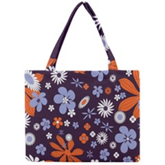 Bright Colorful Busy Large Retro Floral Flowers Pattern Wallpaper Background Mini Tote Bag