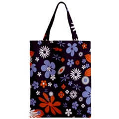 Bright Colorful Busy Large Retro Floral Flowers Pattern Wallpaper Background Classic Tote Bag