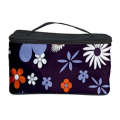 Bright Colorful Busy Large Retro Floral Flowers Pattern Wallpaper Background Cosmetic Storage Case
