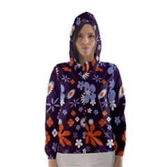 Bright Colorful Busy Large Retro Floral Flowers Pattern Wallpaper Background Hooded Wind Breaker (Women)