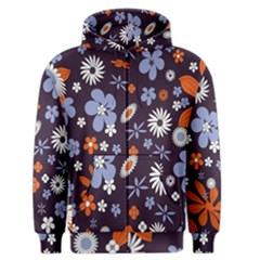 Bright Colorful Busy Large Retro Floral Flowers Pattern Wallpaper Background Men s Zipper Hoodie