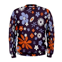 Bright Colorful Busy Large Retro Floral Flowers Pattern Wallpaper Background Men s Sweatshirt