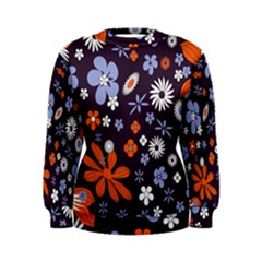 Bright Colorful Busy Large Retro Floral Flowers Pattern Wallpaper Background Women s Sweatshirt