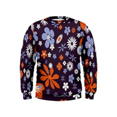 Bright Colorful Busy Large Retro Floral Flowers Pattern Wallpaper Background Kids  Sweatshirt