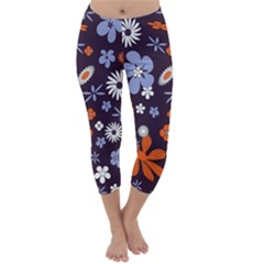 Bright Colorful Busy Large Retro Floral Flowers Pattern Wallpaper Background Capri Winter Leggings