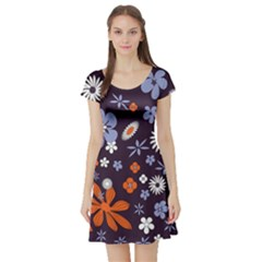 Bright Colorful Busy Large Retro Floral Flowers Pattern Wallpaper Background Short Sleeve Skater Dress