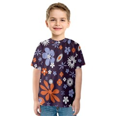 Bright Colorful Busy Large Retro Floral Flowers Pattern Wallpaper Background Kids  Sport Mesh Tee