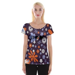 Bright Colorful Busy Large Retro Floral Flowers Pattern Wallpaper Background Women s Cap Sleeve Top