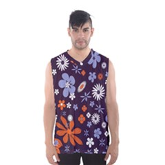 Bright Colorful Busy Large Retro Floral Flowers Pattern Wallpaper Background Men s Basketball Tank Top