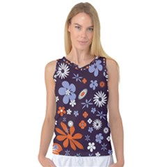 Bright Colorful Busy Large Retro Floral Flowers Pattern Wallpaper Background Women s Basketball Tank Top