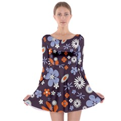 Bright Colorful Busy Large Retro Floral Flowers Pattern Wallpaper Background Long Sleeve Skater Dress
