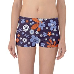 Bright Colorful Busy Large Retro Floral Flowers Pattern Wallpaper Background Reversible Bikini Bottoms