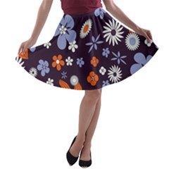 Bright Colorful Busy Large Retro Floral Flowers Pattern Wallpaper Background A-line Skater Skirt