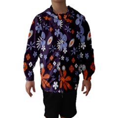 Bright Colorful Busy Large Retro Floral Flowers Pattern Wallpaper Background Hooded Wind Breaker (kids)