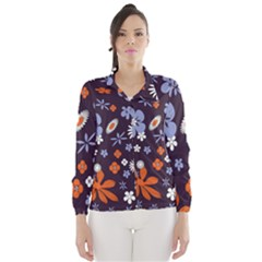 Bright Colorful Busy Large Retro Floral Flowers Pattern Wallpaper Background Wind Breaker (Women)