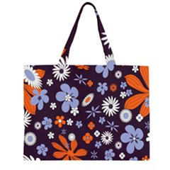 Bright Colorful Busy Large Retro Floral Flowers Pattern Wallpaper Background Large Tote Bag