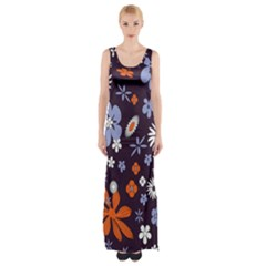Bright Colorful Busy Large Retro Floral Flowers Pattern Wallpaper Background Maxi Thigh Split Dress