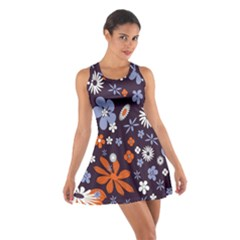 Bright Colorful Busy Large Retro Floral Flowers Pattern Wallpaper Background Cotton Racerback Dress
