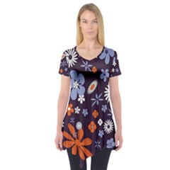 Bright Colorful Busy Large Retro Floral Flowers Pattern Wallpaper Background Short Sleeve Tunic