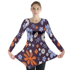Bright Colorful Busy Large Retro Floral Flowers Pattern Wallpaper Background Long Sleeve Tunic