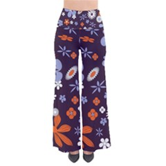 Bright Colorful Busy Large Retro Floral Flowers Pattern Wallpaper Background Pants