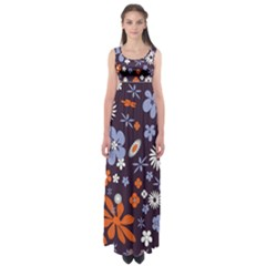 Bright Colorful Busy Large Retro Floral Flowers Pattern Wallpaper Background Empire Waist Maxi Dress