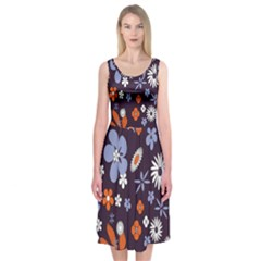 Bright Colorful Busy Large Retro Floral Flowers Pattern Wallpaper Background Midi Sleeveless Dress