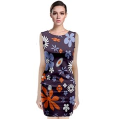 Bright Colorful Busy Large Retro Floral Flowers Pattern Wallpaper Background Classic Sleeveless Midi Dress