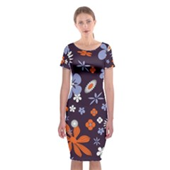 Bright Colorful Busy Large Retro Floral Flowers Pattern Wallpaper Background Classic Short Sleeve Midi Dress