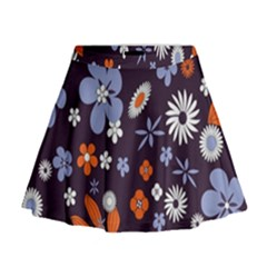 Bright Colorful Busy Large Retro Floral Flowers Pattern Wallpaper Background Mini Flare Skirt