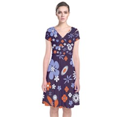 Bright Colorful Busy Large Retro Floral Flowers Pattern Wallpaper Background Short Sleeve Front Wrap Dress