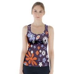 Bright Colorful Busy Large Retro Floral Flowers Pattern Wallpaper Background Racer Back Sports Top