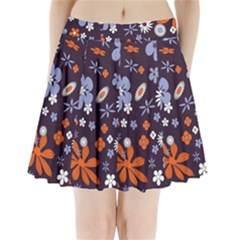 Bright Colorful Busy Large Retro Floral Flowers Pattern Wallpaper Background Pleated Mini Skirt