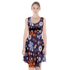 Bright Colorful Busy Large Retro Floral Flowers Pattern Wallpaper Background Racerback Midi Dress