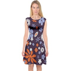 Bright Colorful Busy Large Retro Floral Flowers Pattern Wallpaper Background Capsleeve Midi Dress