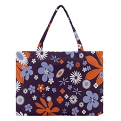 Bright Colorful Busy Large Retro Floral Flowers Pattern Wallpaper Background Medium Tote Bag