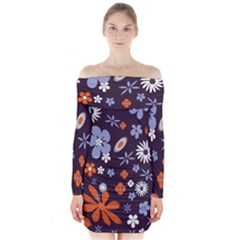 Bright Colorful Busy Large Retro Floral Flowers Pattern Wallpaper Background Long Sleeve Off Shoulder Dress