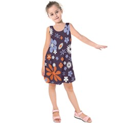 Bright Colorful Busy Large Retro Floral Flowers Pattern Wallpaper Background Kids  Sleeveless Dress