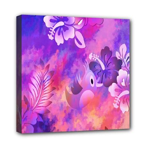 Littie Birdie Abstract Design Artwork Mini Canvas 8  X 8