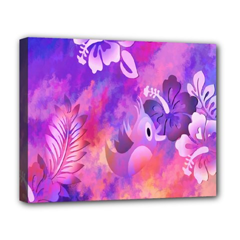 Littie Birdie Abstract Design Artwork Deluxe Canvas 20  x 16