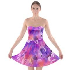 Littie Birdie Abstract Design Artwork Strapless Bra Top Dress