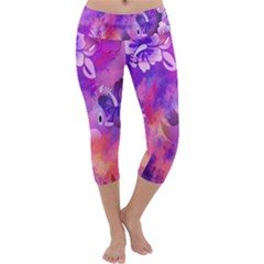Littie Birdie Abstract Design Artwork Capri Yoga Leggings