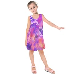 Littie Birdie Abstract Design Artwork Kids  Sleeveless Dress