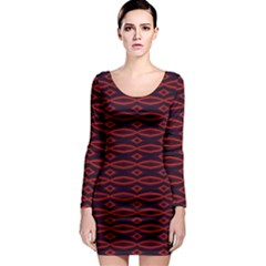 Repeated Tapestry Pattern Abstract Repetition Long Sleeve Bodycon Dress