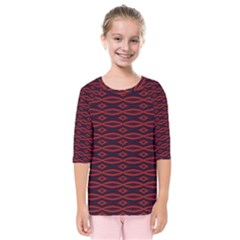 Repeated Tapestry Pattern Abstract Repetition Kids  Quarter Sleeve Raglan Tee