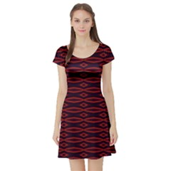 Repeated Tapestry Pattern Abstract Repetition Short Sleeve Skater Dress