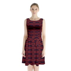 Repeated Tapestry Pattern Abstract Repetition Sleeveless Chiffon Waist Tie Dress