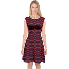 Repeated Tapestry Pattern Abstract Repetition Capsleeve Midi Dress