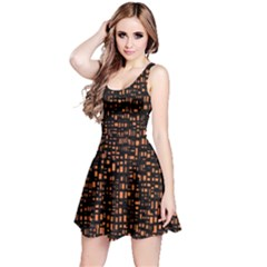 Brown Box Background Pattern Reversible Sleeveless Dress